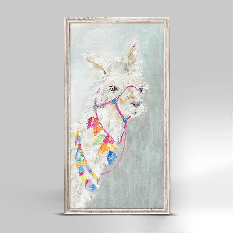 Sweet Llama Rustic White Framed Canvas 5x10