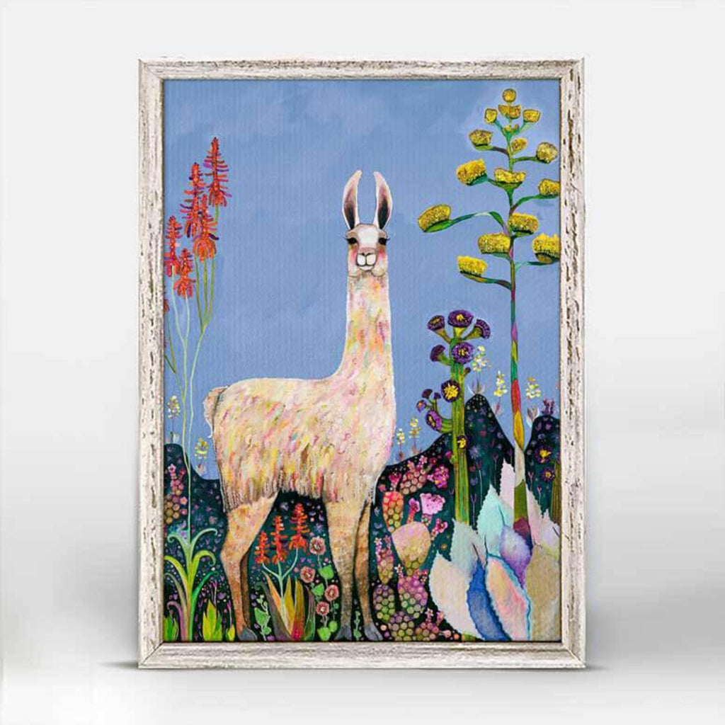 Tall Girl Llama Denim Mini Framed Canvas 5x7