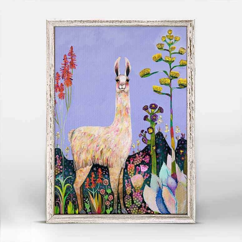 Tall Girl Llama Lavender Mini Framed Canvas 5x7