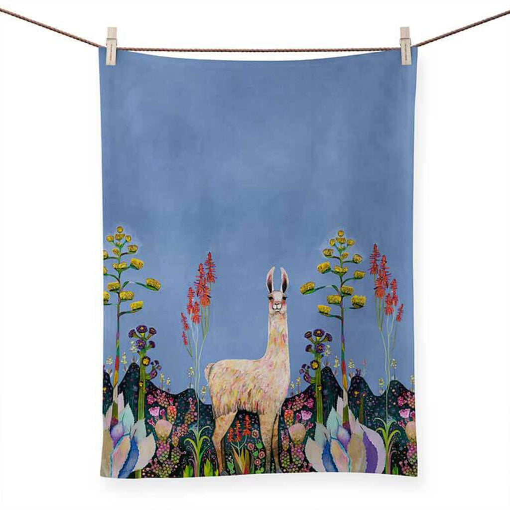 Tall Girl Llama Tea Towel