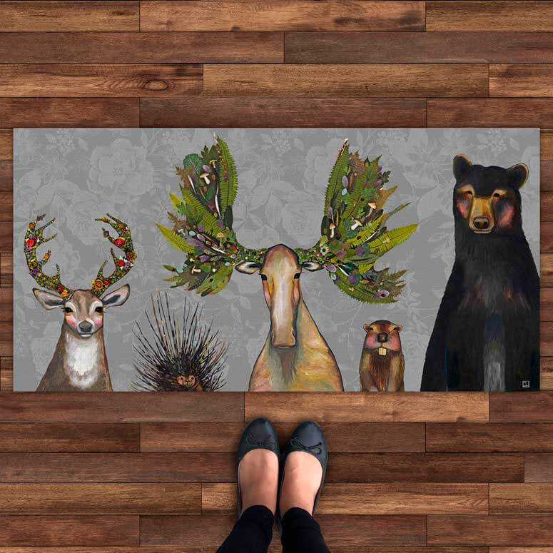 The Forest Five Floral Floorcloth 40x20