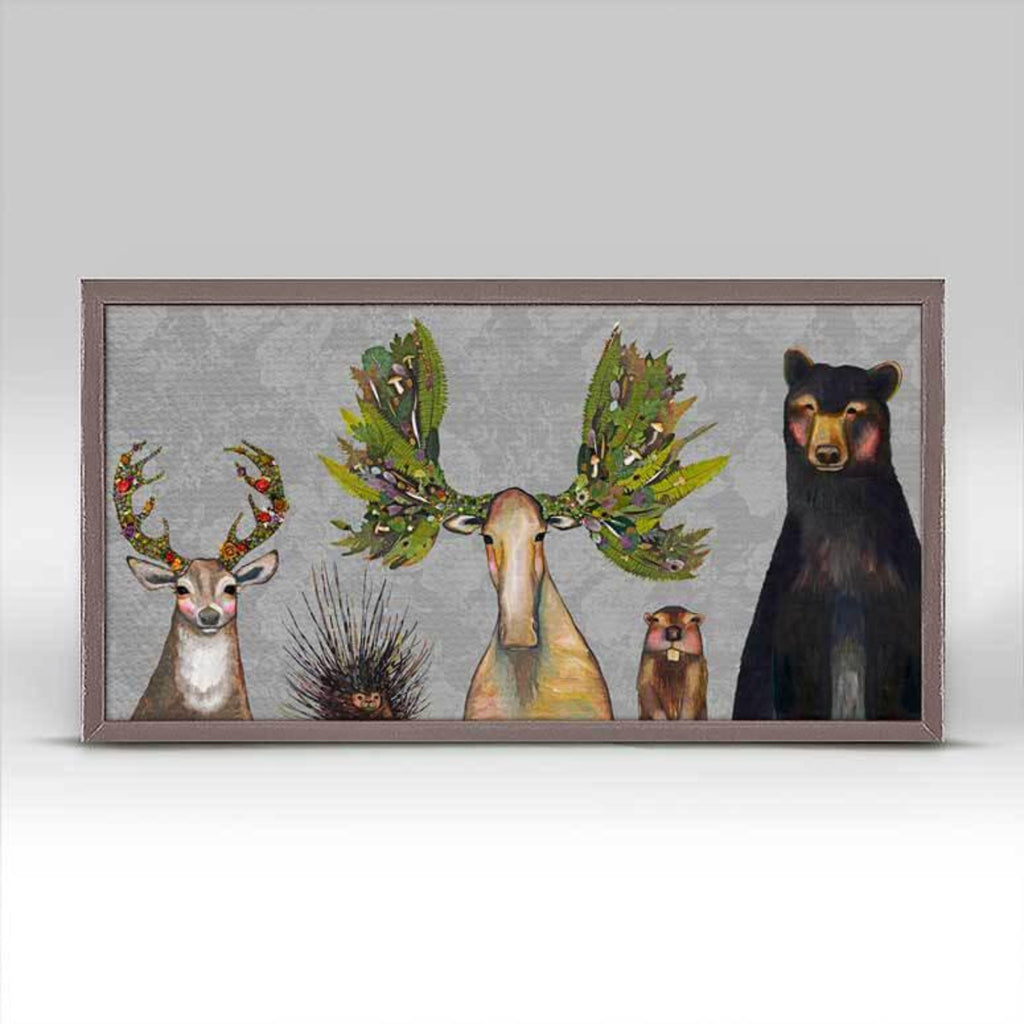 Forest Five- Floral Mini Framed Canvas Rustic 10x5