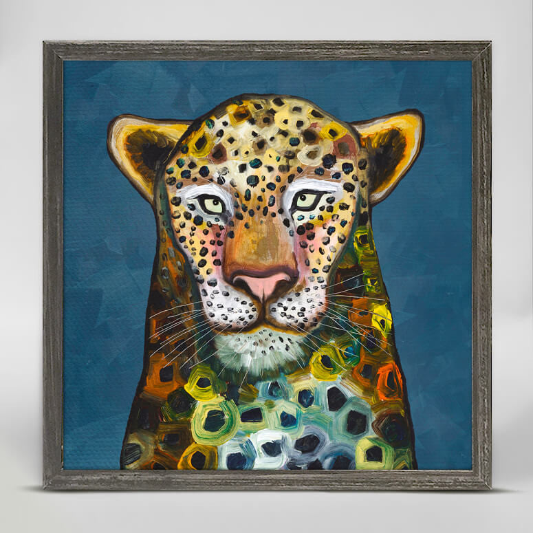 Wild Leopard Rustic Black Mini Framed Canvas 6x6