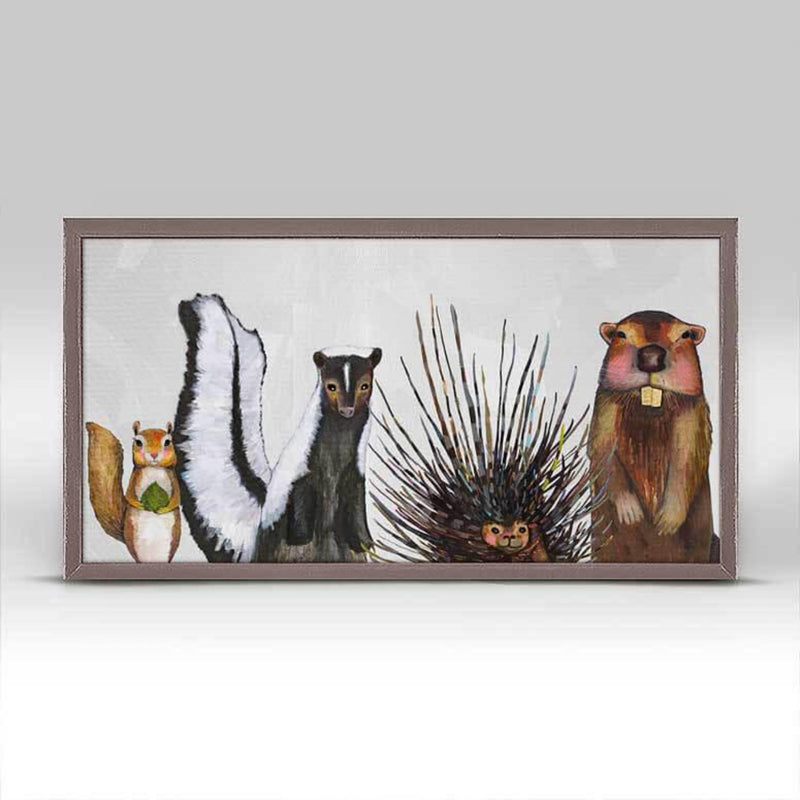 Woodland Crew On Soft Pewter Mini Framed Canvas Rustic 10x5