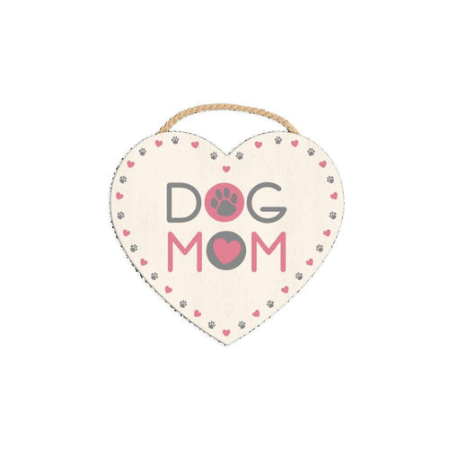 Dog Mom Heart Shaped Wooden Sign