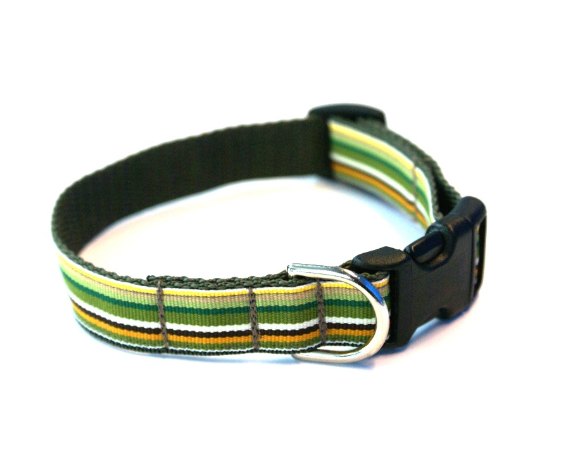 Khaki Striped Adjustable Dog Collar