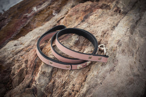 Pink Crystal and Leather Dog Collar