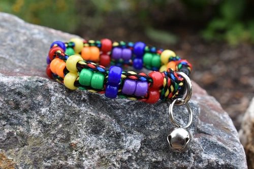 Rainbow Beaded Cat Collar
