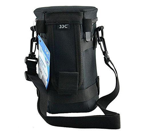JJC DLP-5 120 x 220 mm Water Resistant Deluxe Lens Pouch with Strap - Black