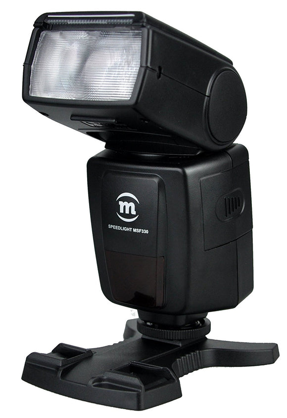 Maxsimafoto MSF330 flash gun. Standard single hot shoe. Nikon Canon Pentax Fuji Sony etc.