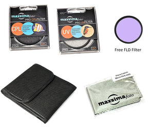 Maxsimafoto - Professional 52 mm UV and CPL Filter Kit with added FLD. Includes Pouch & Lens Cloth