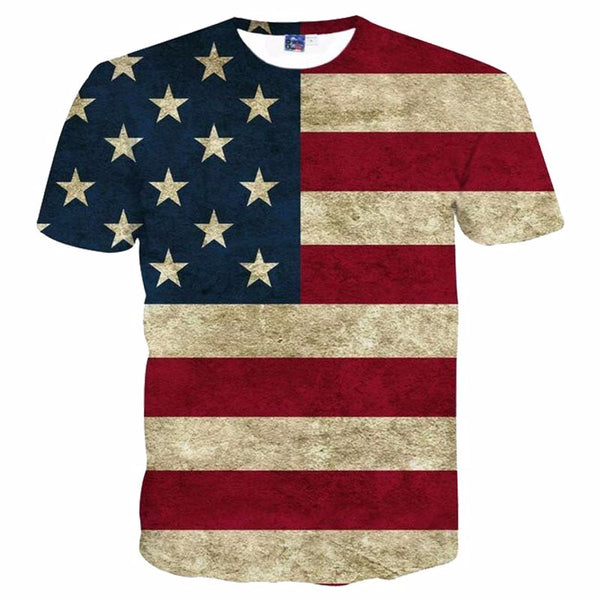 New Men's Fashion Collection T-shirt 3D Print Striped American Flag Men