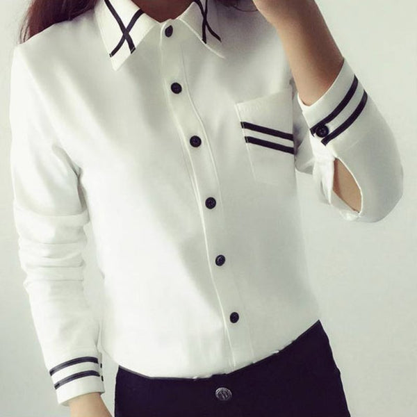 New Fashion Collection Elegant Chiffon Bow Tie White Blouse