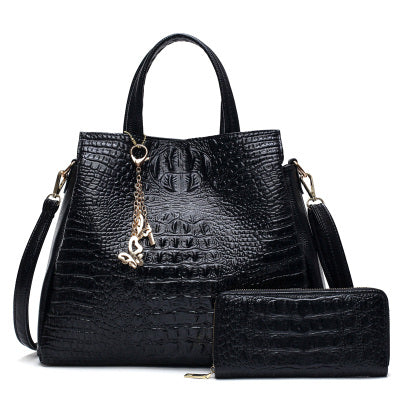 New Fashion Collection Style Leather Women Crocodile Pattern Handbags Set