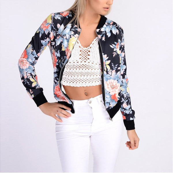 New Fashion Collection Style Flower Print Bomber Jacket
