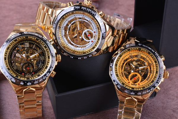 New Men's Fashion Collection Accessories Golden Automatic Skeleton Watches