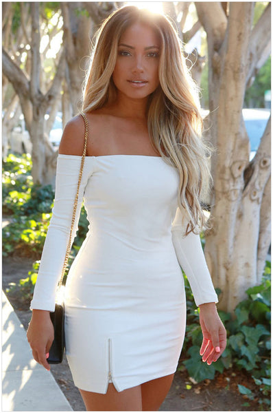 New Fashion Collection Solid White Black Zipper Off Short Stretch Dress