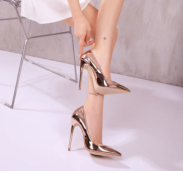 New Fashion Collection Style Fashion Rose Metallic Gold High Heel Shoes