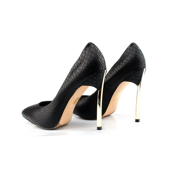 New Collection Style Women's Black Leather High Heels Shoes