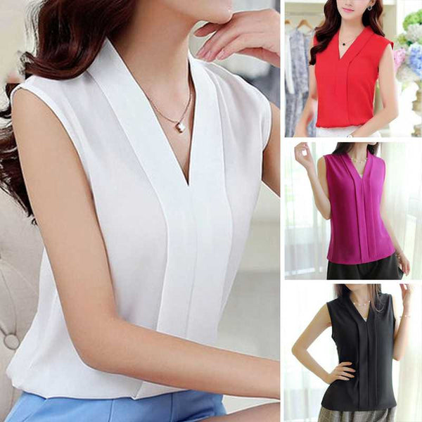 New Fashion Collection Style Chiffon Blouse Sleeveless