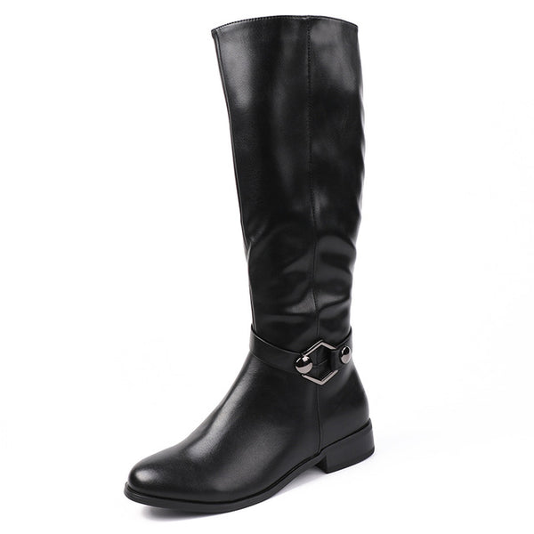 New Winter Collection Fur Black Soft Leather Knee Boots