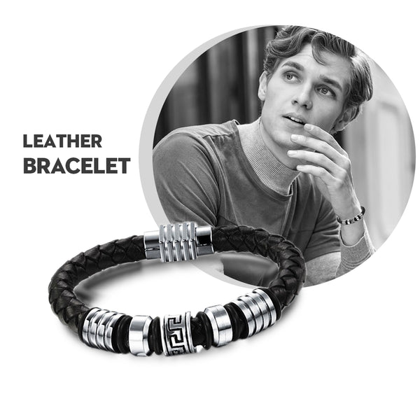 New Fashion Jewelry Genuine Leather Men Bracelet Gifts For Him
