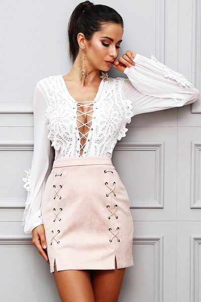 New Fashion Collection Style Sexy White Lace Blouse