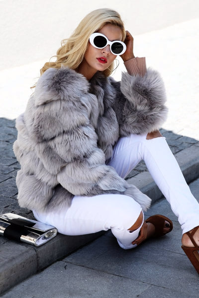 New Fashion Collection Vintage Fluffy Faux Fur Coat