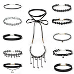 12 Pieces Choker Necklace Set Stretch Velvet Classic Gothic Tattoo Lace Choker