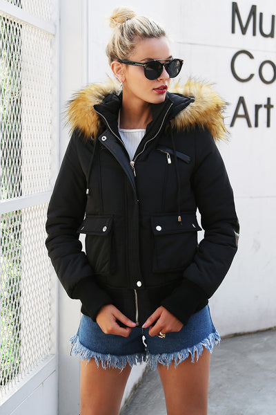 New Winter Collection Black Lady's Jacket