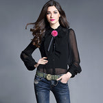 New Fashion Collection Style Black Bow  Real Silk Blouse