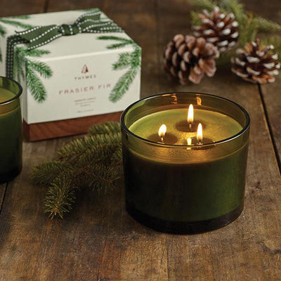 Frasier Fir Poured Candle - 3-Wick, Green Glass