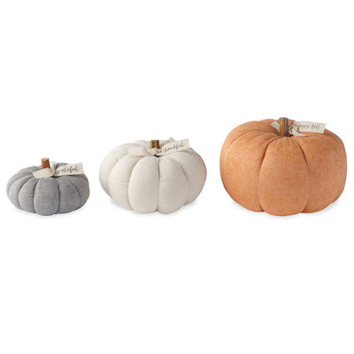 Medium White Felted Wool Pumpkin Decor