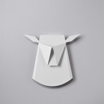 White Reindeer Head Wall Sconce