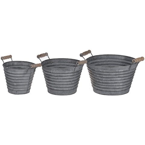 Galvanized Metal Pots With Wood Handle