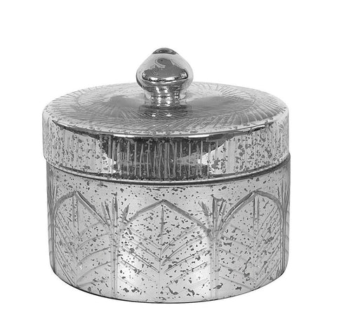 Round Mercury Glass Jar with Lid