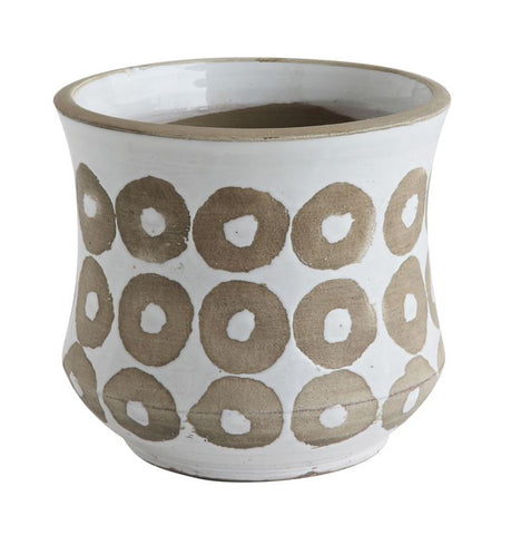 White Glazed Terra Cotta Pot with Circles