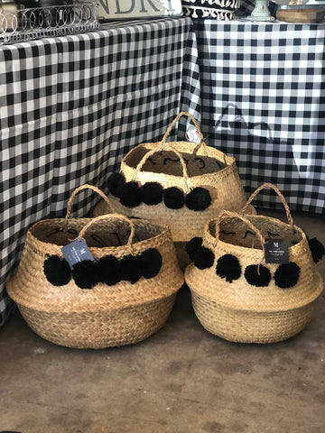 Round Wicker Collapsible Baskets with Black Pom Pom