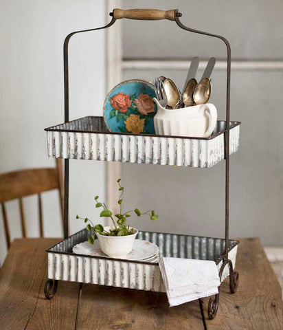 Whitewash Corrugated Two Tier Tabletop Caddy