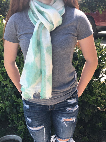Linen Scarf with Ikat