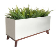 Madeira Rectangle Planter Box - Brushed Steel Finish - Aluminum Planter with Hardwood Base by NMN Designs