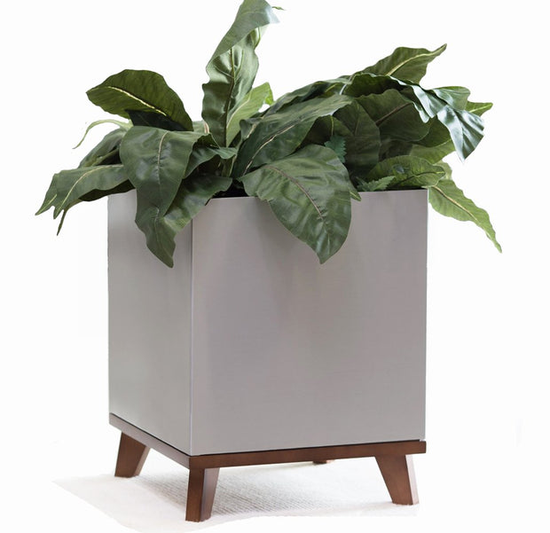 NMN Designs - Madeira Cube Planter with Wooden Base - Brushed Metal Finish with Midcentury Hardwood Base