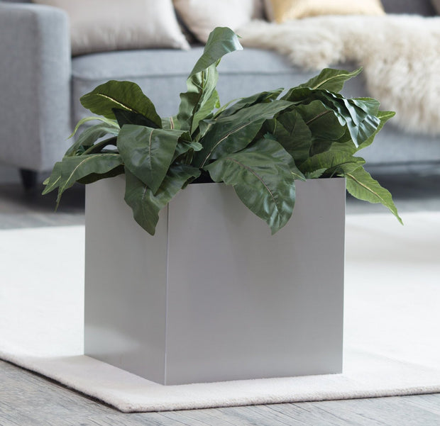 NMN Designs - Madeira Cube Planter - Square Metal Brushed Aluminum Finish - Indoor Square Planter