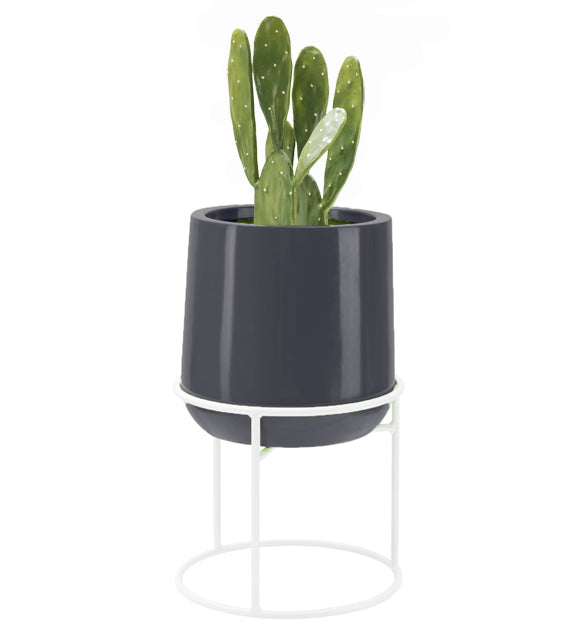 Ainslie Fiberglass Planter with Stand - Glossy Gray - Round, Indoor and Outdoor Planter - Tall, Modern Planter - Drainage Holes