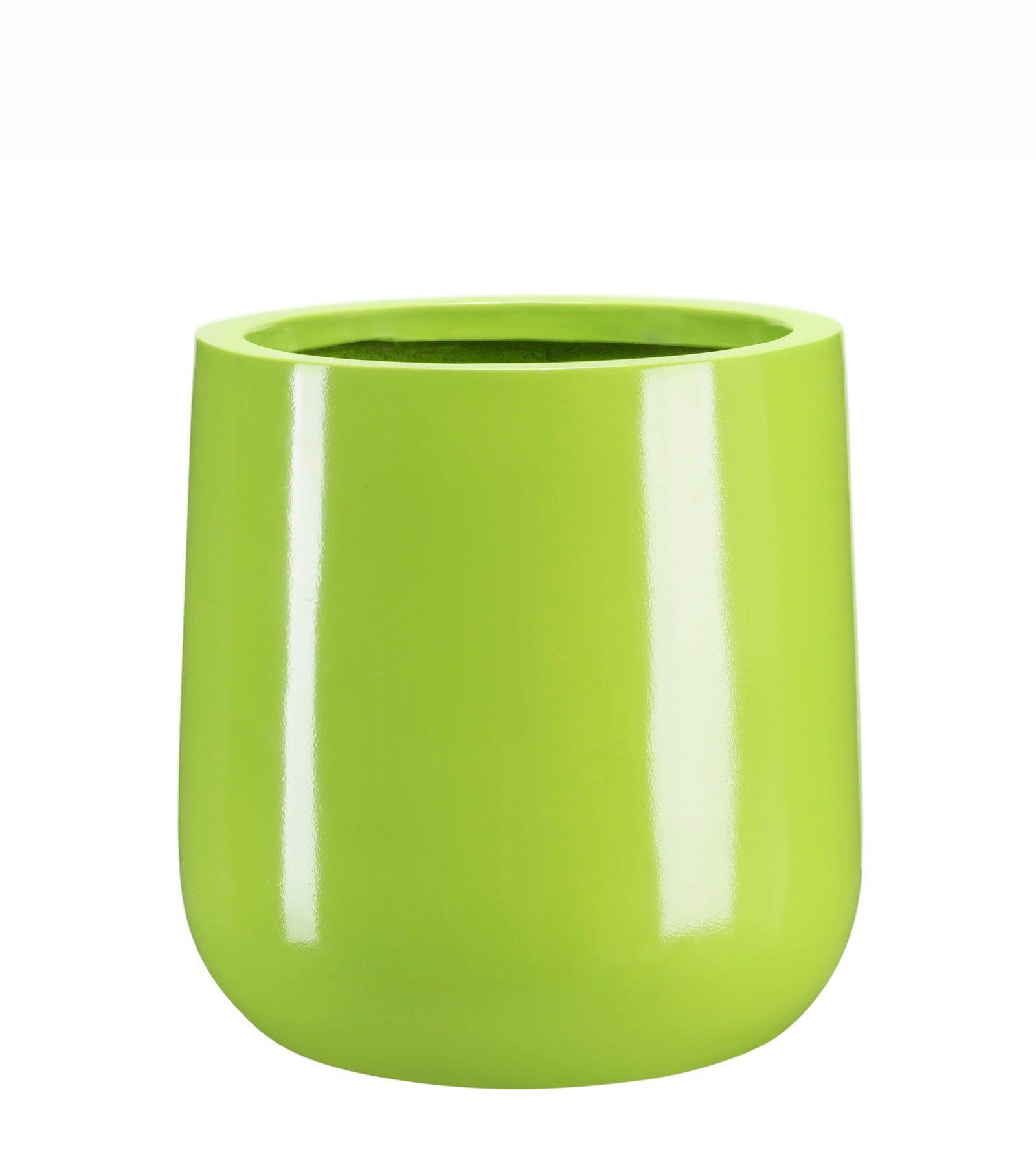 Ainslie Fiberglass Planter - Glossy Green - Round, Indoor and Outdoor Planter - Modern Planter - Drainage Holes