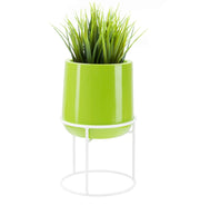 Ainslie Fiberglass Planter with Stand - Glossy Green - Round, Indoor and Outdoor Planter - Tall, Modern Planter - Drainage Holes