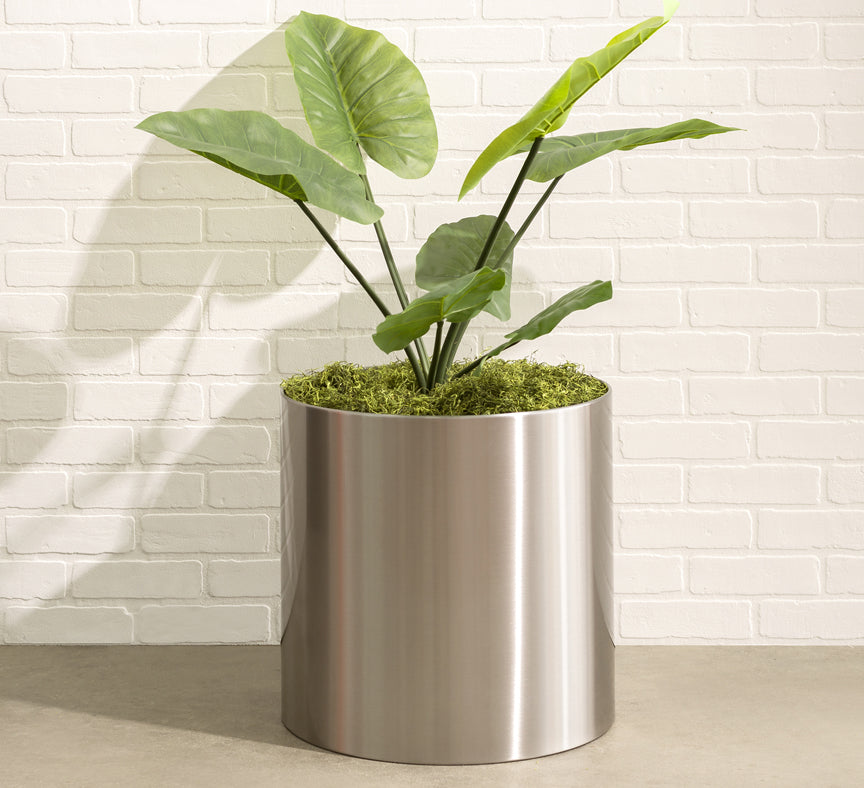 Knox Brushed Stainless Steel Cylinder Planter - Round Planter Pot Container by NMN Designs - Silver Plant Pot