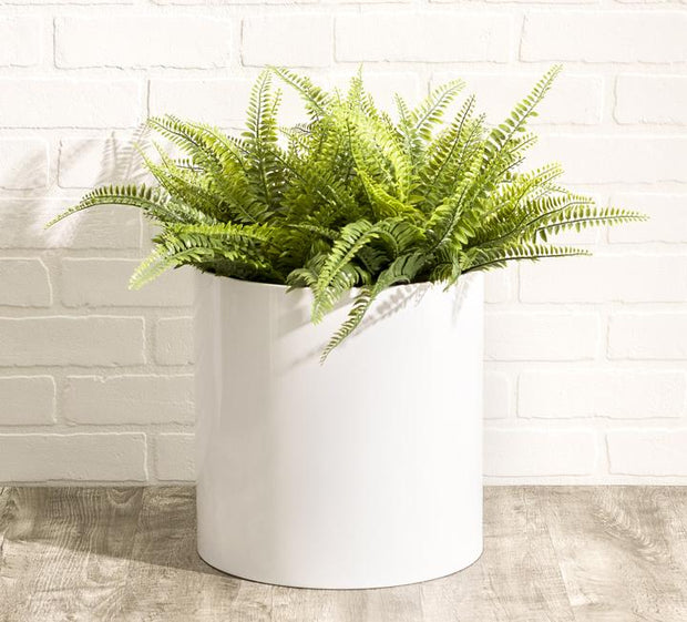 NMN Designs - Knox Stainless Steel Round Cylinder Planter, White, Indoor and Outdoor