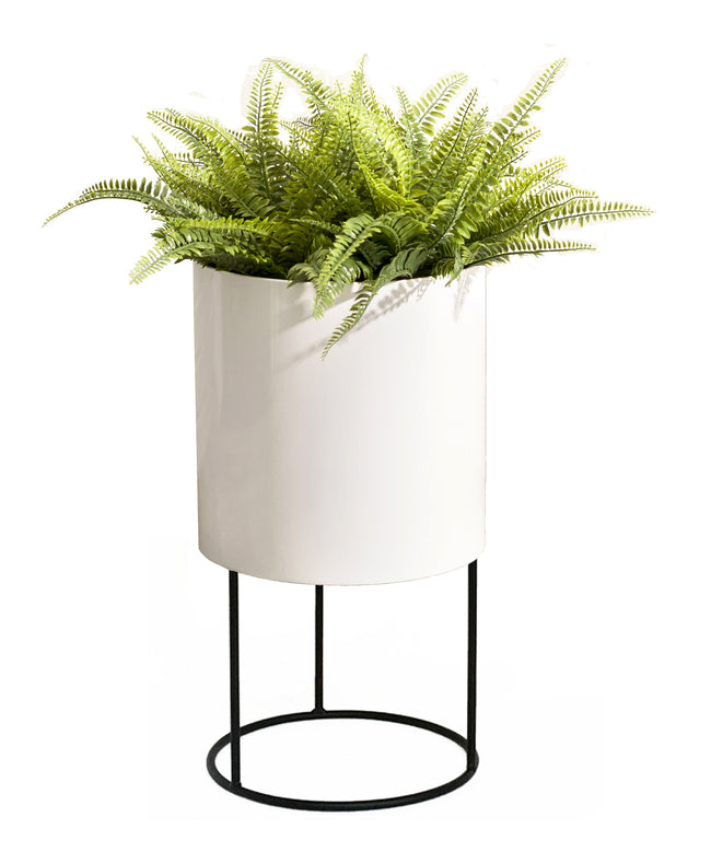 NMN Designs Knox Modern Cylinder Raised Planter with Stand Stainless Steel - Round, Tall Planter Pot with Stand