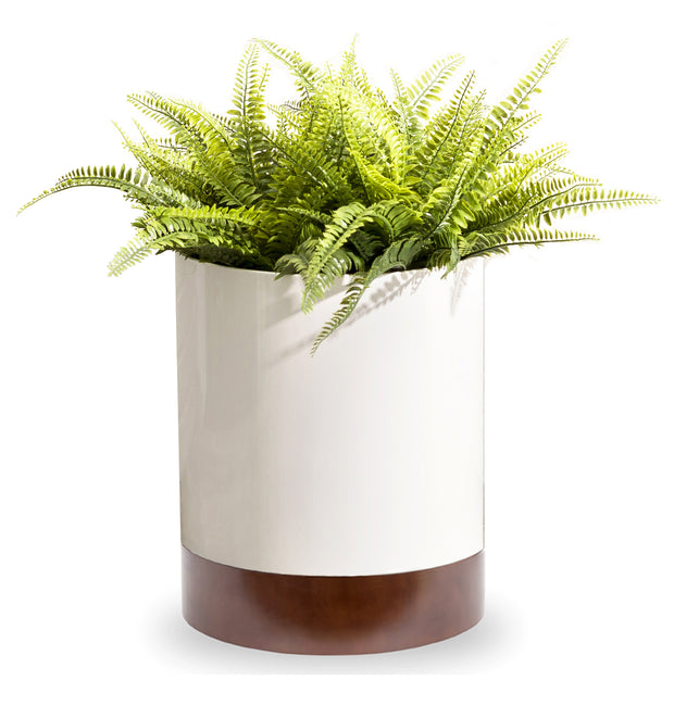 Knox Cylinder Planter with Wood Base - Indoor Modern Planter - Round, Metal, White Planter Pot, Walnut Finished Base